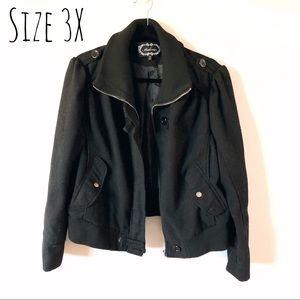 ➕ Plus Size 3X Crop black coat jacket military